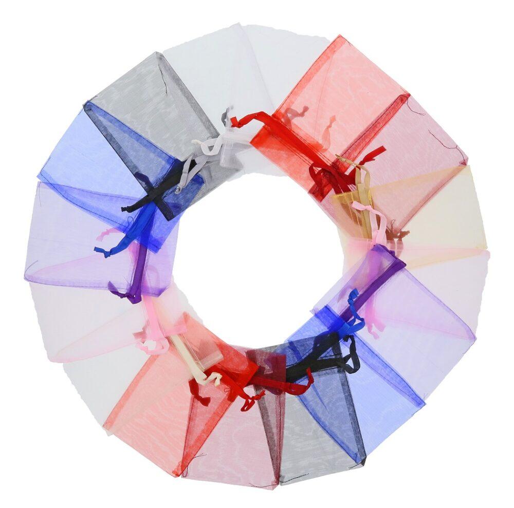 Lille organza poser 10x15cm blandede farver (3)