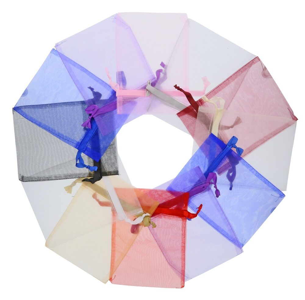 Mellemstore Organza poser 15x20cm blandede farver