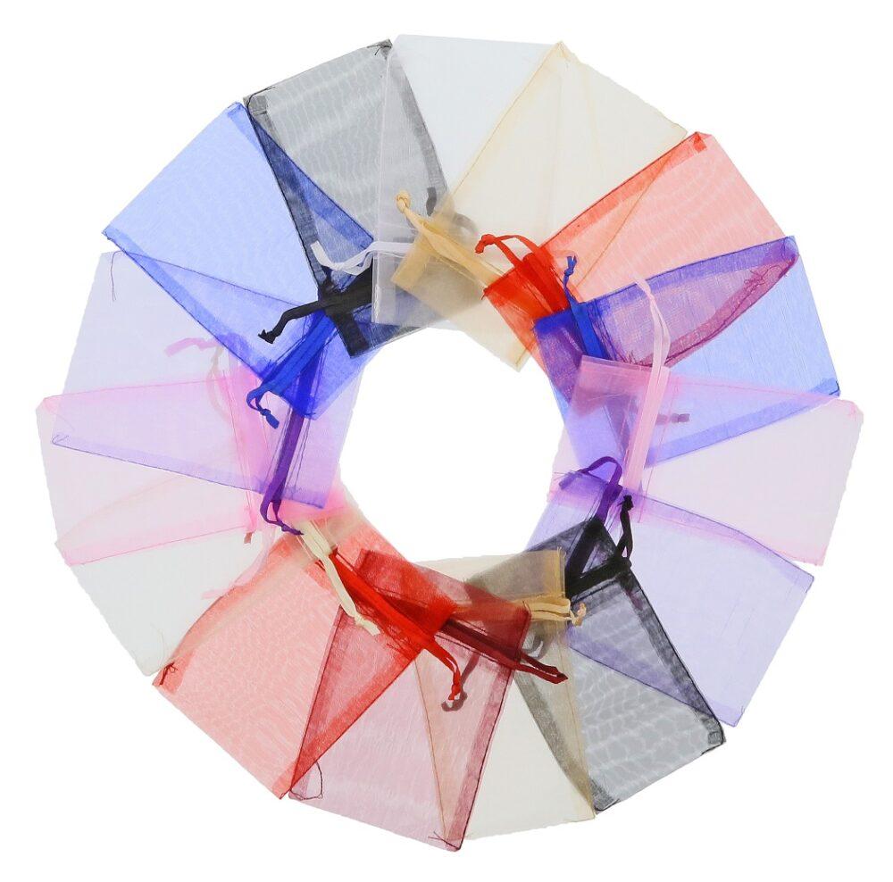 Mini organza poser 7x12cm blandede farver (3)