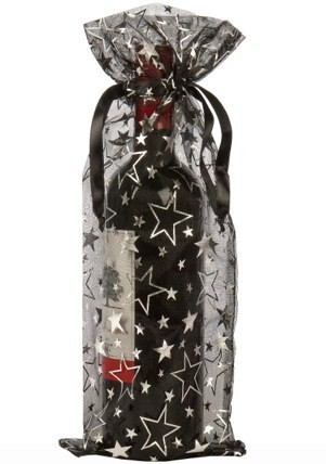 Organza flaske tasker vin stjerner sort