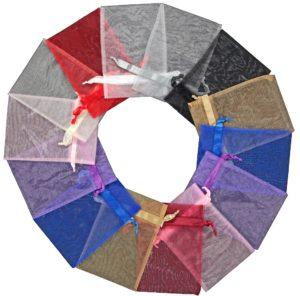 Organza poser 20x28cm blandede farver