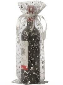 Organza flaske tasker vin stjerner sølv