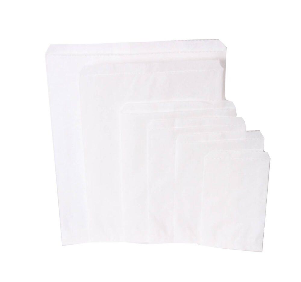 1000 stykker Papierposer Hvid et valg af flere størrelser (4)