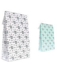 50 stykker Gavepose Papir Arctic Flower med klæbestrimmel og krydsbund 10x15,7x4 eller14x23x5,5cm