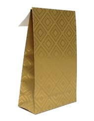50 stykker Gavepose Papir Gyldne Fliser med klæbestrimmel og krydsbund 10x15,7x4 eller14x23x5,5cm