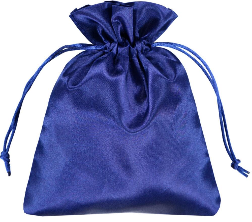Satin smykke pose blå 15x20 cm