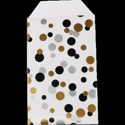 150 stk Papir Poser Polka Dots Sort Guld og Sølv